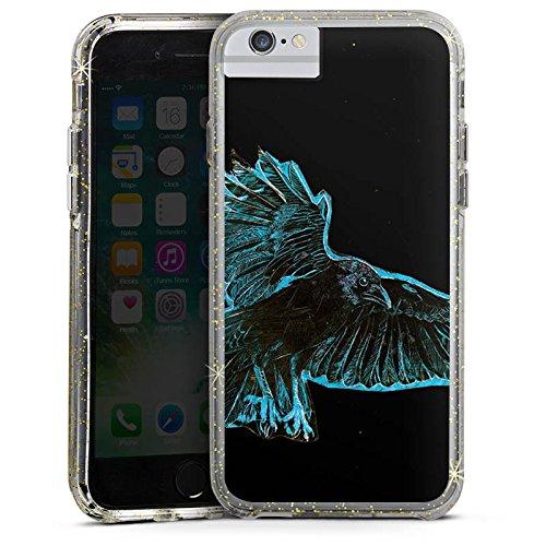 Apple iPhone 7 Plus Bumper Hülle Bumper Case Glitzer Hülle Crow Kraehe Bird Bumper Case Glitzer gold