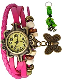 RTimes Vintage Butterfly Bracelet Wrist Watch for Women with Girl's Key Chain - Pink girl's watch