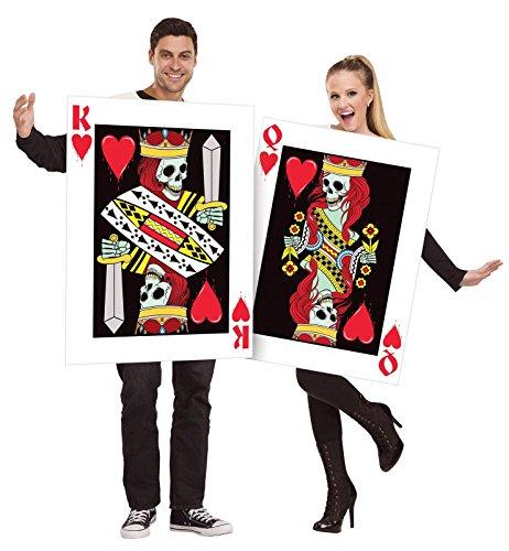 Fun World–König und Königin der Herzen Kostüm für Erwachsene, Wieß / Rot / Schwarz, Einheitsgröße