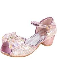 b2f30efb5c59d Yy.f YYF Fille Sandale Princesse Chaussures a Talon Reine de Neige Belle  avec Pailliettes