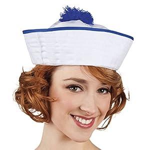 Boland-Sombrero Marino Ahoy para adultos, Blanco/Azul, talla única, 81010