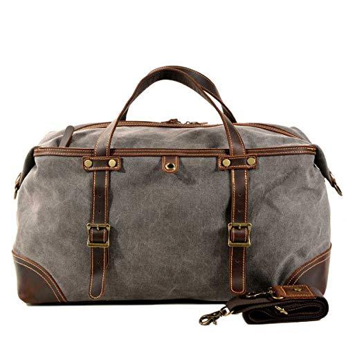 VZVABAG Groß Reisetasche Canvas Leder Reisegepäck Weekender Tasche Vintage Damen Herren für Reise Urlaub (Grau 9503)