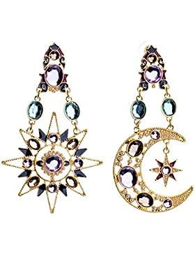 Ohrringe Kristall Anhänger Sonne Mond Stern