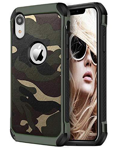 FDTCYDS iPhone xr hülle Shockproof Hybrid Rugged Camouflage Cover Handyhülle für Apple iPhone XR - Camo Grün -