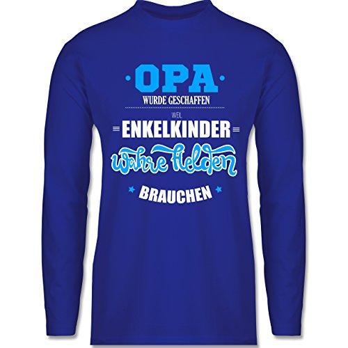 Opa - Opa wurde geschaffen - Longsleeve / langärmeliges T-Shirt für Herren Royalblau