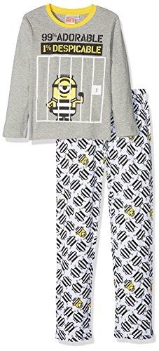 Les minions 161943, pigiama bambino, (gris blanc), 10 anni