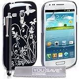 Yousave Accessories Schutzhülle für Samsung GalaxyS3 Mini, mit Eingabestift, Blumendesign, silberfarben/Schwarz