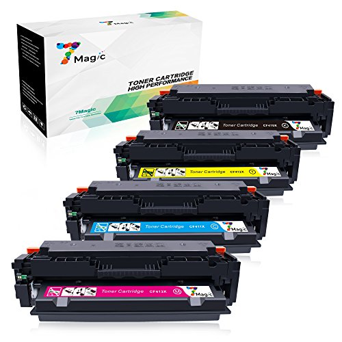 HP CF410X CF410A kompatibel, 7Magic Toner Patronen HP CF410X CF410A kompatibel für HP Color Laserjet Pro MFP M477fdw M477fnw M477fdn M452dn M452nw M452dw M377dw 410X CF411X CF412X CF413X Drucker (1 Schwarz, 1 Cyan, 1 Magenta, 1 Gelb)