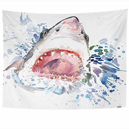 Daawqee Wandteppiche Wall Hanging Art 60 x 50 Inches Fish Watercolor Ocean Shark Attack Graphics Wildlife Fun Wave Bite Danger Drawing Design Home Tapestries Office Bedroom Living Room Dorm