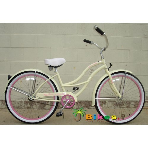 J BIKES BY MICARGI TAHITI 26 1 SPEED WOMENS BEACH CRUISER BICYCLE BIKE VANILLA WITH PINK RIMS BY MICARGI