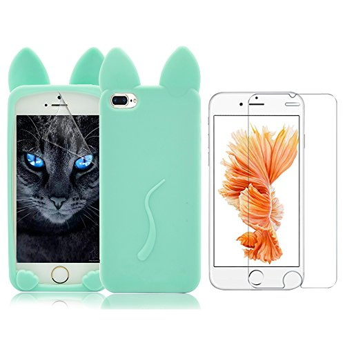 iPhone 7 Plus Caso ,iPhone 7 Plus Cover (5.5), Bonice 3D Cat Tail Ultra Sottile Morbido Clear Trasparente TPU Gel Silicone Case + 1x Protezione Dello Schermo Screen Protector- verde