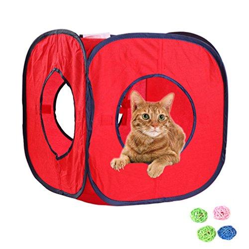 emours Flexible Pop Out Cat Kitty Play Cube erweiterbar Play Tunnel Katze Spielzeug, mit 4Kugeln, Farbe kann variieren -