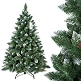 FairyTrees Árbol de Navidad Artificial Pino, Natural de Blanco Nevado, Material PVC, verdadera Piñas, Incluye Soporte de Metal, 120cm, ft04–120