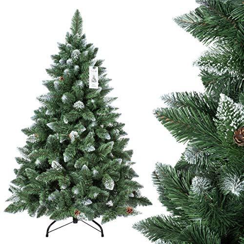 FairyTrees Sapin de Noël Artificiel Pin enneigées, Naturel/Blanc, matière PVC, Pommes de pin véritables, avec Support en métal, 150 cm, FT04–150