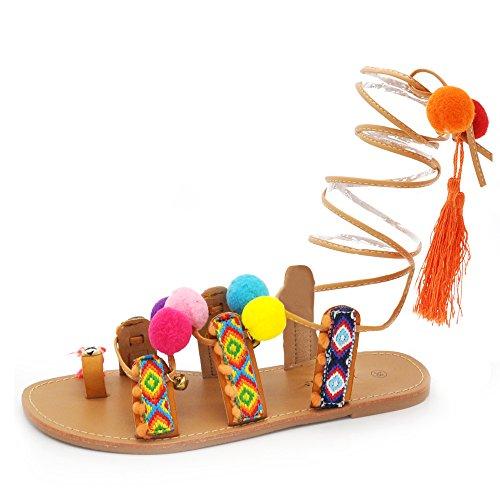 Scarpe donna pelle sintetica sandali etnico pom pom greco schiava frange legare (1317 camel 37)