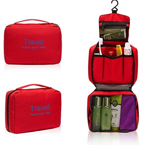 Gmin Travel Bag Pachetto Viaggi impermeabile kit da toilette ammissione pacchetto di viaggio portatile che piega il sacchetto cosmetico portatile (rosso) rosso