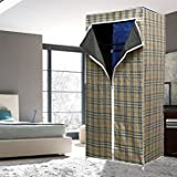 Escon Single Layer Styles Fancy & Portable Fold-able Closet Wardrobe Cabinet Portable Multipurpose Clothes Closet Portable Wardrobe Storage Organizer With Shelves 105*45*175 Cm Folding Wardrobe Cupboard Almirah Fold-able Storage Rack Collapsible Cabin