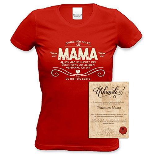 TOP Geschenk Shirt perfekt zum Muttertag, Geburtstag, Weihnachten, Ostern … Danke Mama Farbe: rot Rot