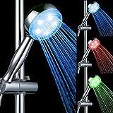 Aoligei 3 Farben Wasser-Temperatur-Control-LED-Licht-Top-Spray Duschkopf Badezimmer Dusch , Chrome