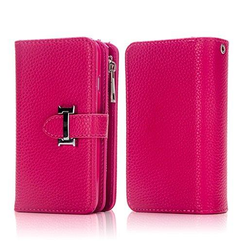 EKINHUI Case Cover Solid Color Litchi Skin PU Leder Magnetic Closure Pattern Schutzhülle mit Card Slots & Zipper Pouch & Abnehmbare Rückseite für iPhone 7 Plus ( Color : Purple ) Rose