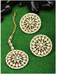 Peora 18K Gold Plated Kundan Pearl Royal Round Earring Maang Tikka Set Indian Traditional Jewellery for Women Girls