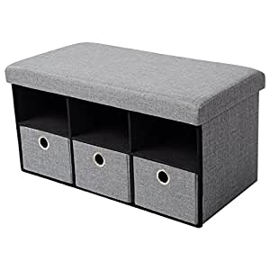 woltu sitzhocker mit stauraum sitzbank faltbar aufbewahrungsbox schuhschrank mit drei. Black Bedroom Furniture Sets. Home Design Ideas