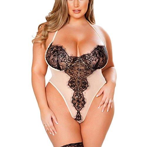 HCFKJ Dessous Erotik Damen Set Hot Frauen Plus Größen-BH-Spitze-Wäsche reizvoller Babydoll siamesischer Bodysuit Sleepwear (L3, ()