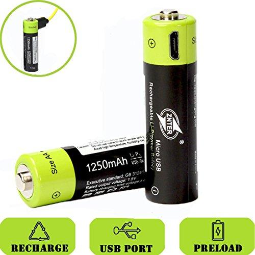 SOEKAVIA 1250mAh AA Polymerisat-LithiumAkkus Wiederaufladbare Akkus USB-Laden Akkus mit USB-Kabel (schwarz + grün)-2 Pcs -