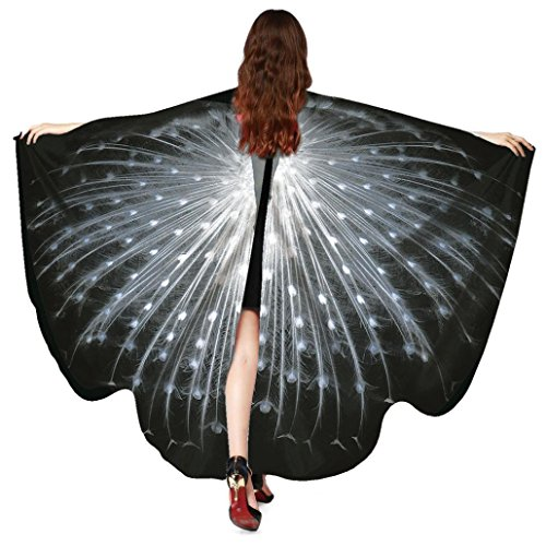 schmetterling kostüm,Mitlfuny Weiche Stoff Schmetterlingsflügel Gewebe Schmetterlings Flügel Schal feenhafte Damen Nymphe Pixie Halloween Cosplay Weihnachten Cosplay Kostüm Zusatz 168X135CM (Schwarz)