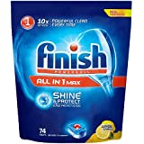 Finish All in One Max Dishwasher Tablets Lemon, 74 Tablets