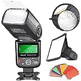 Neewer Profesional i-TTL - Flash con zapata para cámaras Nikon (LCD, ISO 100, modo S1/S2), color negro - kit con 35 piezas de filtro cololor