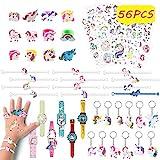 Pachock 56pcs Gadget Unicorno, Portachiavi Unicorno Anelli, Unicorno Tatuaggi Unicorno Braccialetti per Bambine Ragazze Regalo Festa Compleanno Bomboniere Bambini