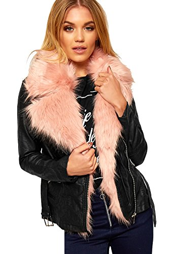 WEARALL - Damen Faux Neon Pelz Kragen Liniert Leder Aussehen Belted Lang Hülle Damen Jacke - Schwarz - 40 (Jacke Reißverschluss Belted Leder Damen)