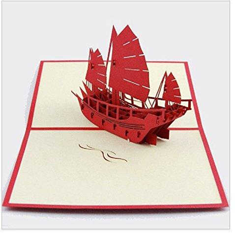 Handgemachter Origami 3D Pop-up-Karte Geburtstagskarte Valentinstag Karte Vatertag Karte Grusskarte Schlachtschiff Kriegsschiff Schiff mittelalterlichen alten Piratenschiff Schiff Yacht