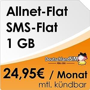 DeutschlandSIM Flat M [SIM und Micro-SIM] monatlich kündbar (1GB Daten-Flat, Telefonie-Flat, SMS-Flat, 24,95 Euro/Monat) O2-Netz ***Nur noch bis zum 20.04.2014 verfügbar***