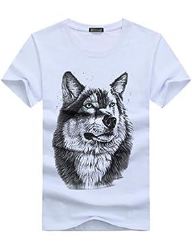 NiSeng Hombre Camiseta 3D Lobo Cabeza Impresión Sólido Cuello Manga Corta/Manga Larga Camiseta Personalidad T-Shirt