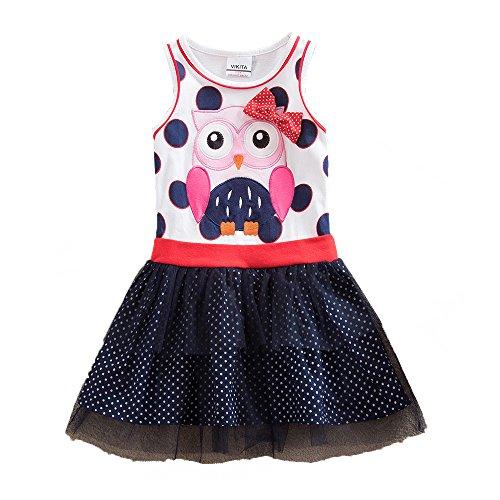 VIKITA Mädchen Kleid Baumwolle Stickerei Schmetterling Tulle Prinzessin Tutu EINWEG SH5066 5T