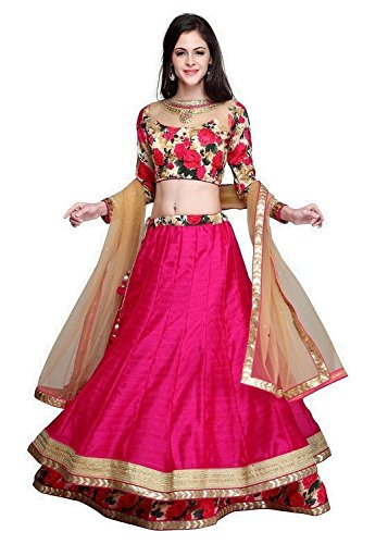 Lehenga Women Cloting Pink Colour Benglori Silk Lehenga Choli Semi Stiched Lehenga...