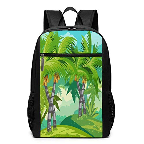 TRFashion Rucksack Coconut Palm 17 Inch College Laptop Notebook Bag Backpack Schoolbag Book Bag for Men Women Black (Coach Bag Book)