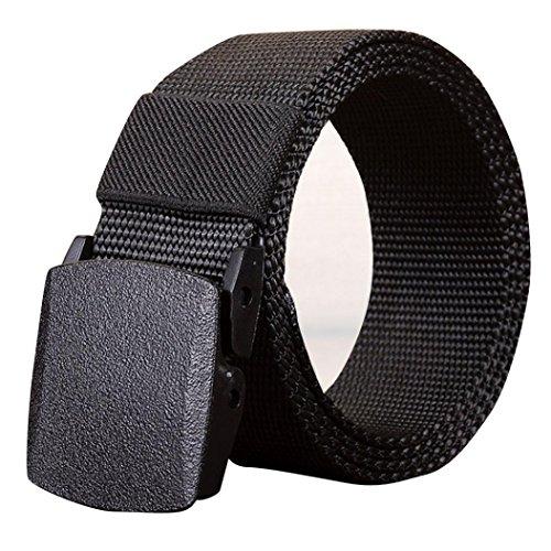 SUCES Männer Outdoor Sports Nylon Bund Leinwand Web Gürtel Dazzling Damen und Herren Doppel-Ring Einfarbig Stricken Canvas Web Gürtel Belt (140, Black) (Anzug Herren Nylon)
