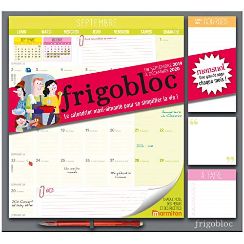 Frigobloc 2020 Mensuel - Calendrier d'organisation familiale par mois (de sept 2019 à décembre 2020): Le calendrier maxi-aimanté pour se simplifer la vie !