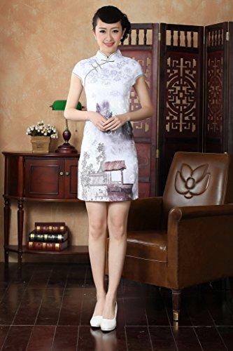 Bigood Cheongsam Femme Rétro Robe à Fleur Manche Courte Soirée Eté Blanc Blanc