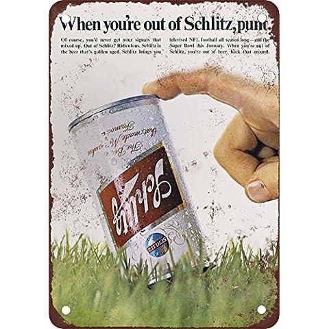 1969Schlitz birra e calcio stile vintage Riproduzione in metallo Tin Sign 17,8x 25,4cm
