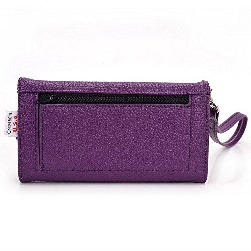 Kroo Pochette Téléphone universel Femme Portefeuille en cuir PU avec sangle poignet pour Xolo Q900s/Opus HD Violet - violet Violet - violet