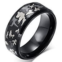 JewelryWe Black Camouflage Army Ring Stainless Steel Comfort Fit Finger Band (10)