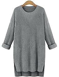 Tricot Chandail Robe,LMMVP Femmes Décontractée Solide Manche Longue En vrac O Cou Tricoté Chandails Robe (Taille libre, gris)