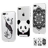 MAXFE.CO 3X Coque iPhone 8 Plus / 7 Plus Silicone Transparent Etui Housse TPU Antichoc Case Cover Protection Cuir Accessoire Coques iPhone 8 Plus / 7 Plus (5.5 inches) Plume + Panda + Totem