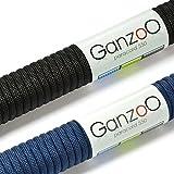 Paracord 550 Seil 2er Set für Armband, Knüpfen von Hundeleine oder Hunde-Halsband zum selber machen / Seil mit 4mm Stärke / Mehrzweck-Seil / Survival-Seil / mit 7 Kernsträngen / Parachute Cord belastbar bis 250kg (550lbs) / reißfestes Kernmantel-Seil / Erhältlich in vielen verschiedenen Farben, Marke Ganzoo (Schwarz & Navyblau, 2x 30 Meter)