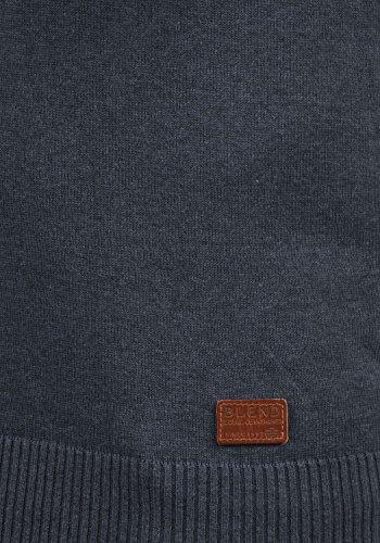 BLEND Leonardo Herren Strickpullover Feinstrick Pulli mit Grandad-Kragen aus hochwertiger Baumwollmischung Navy (70230)