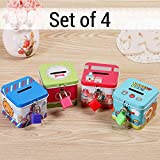 #7: TiedRibbons Kid's Birthday Party Return Gift Sets for Kids Girls Boys Childrens Coin Money Bank(Set of 4)